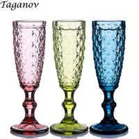 3 PCS Champagner Glas Hochzeit Retro Küche Esszimmer Bar Drink Saft Rotwein Glas Partei Grün Blau Transparent Empaistic Tasse