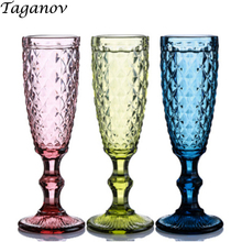 3 PCS Champagne Glass Wedding Retro Kitchen Dining Bar Drinkware Juice Red Wine Party Green Blue Transparent Empaistic Cup