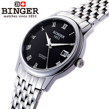 Silver Band  Watch Partially Hollow Black Dial Stainless Steel Strap Binger watches Automatic Mechanical Wristwatch Wedding Gift