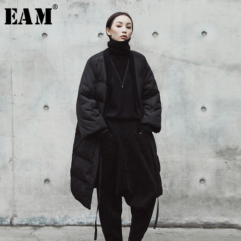 EAM 2019 New Spring V collar Solid Color Black Big Size Cotton padded Bandage Coat