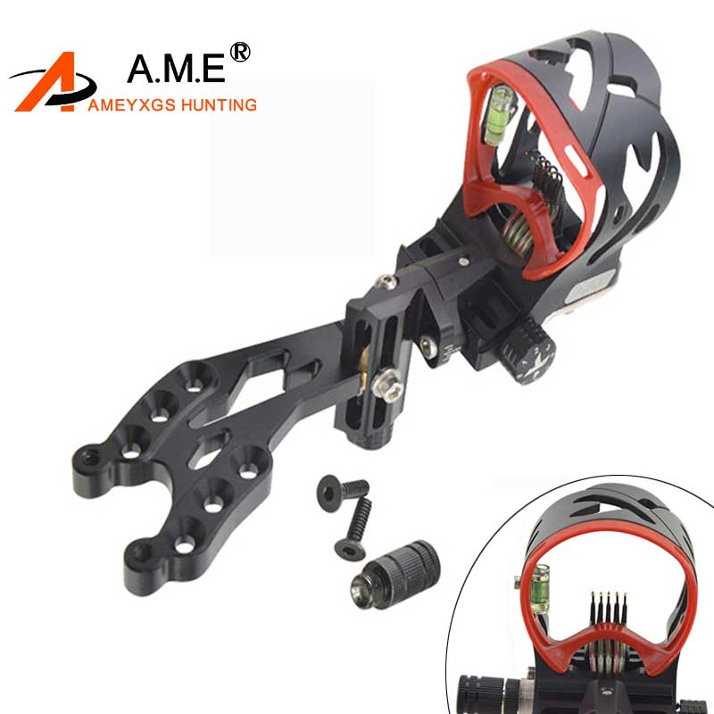 1PC AXT4 Adjustment 5 pins Archery Compound Bow Sights Laser LED Light Illuminated Optical Fiber Micro