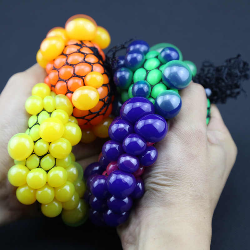 5Colour Hot 5cm Cute Anti Stress Face Reliever Grape Ball Autism Mood Squeeze Relief Healthy Toy Vent Toy Extruded Discoloration