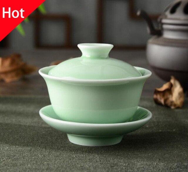kitchen and dining sets titanium knives chinese celadon gai wan tea set bone china cup dehua ...