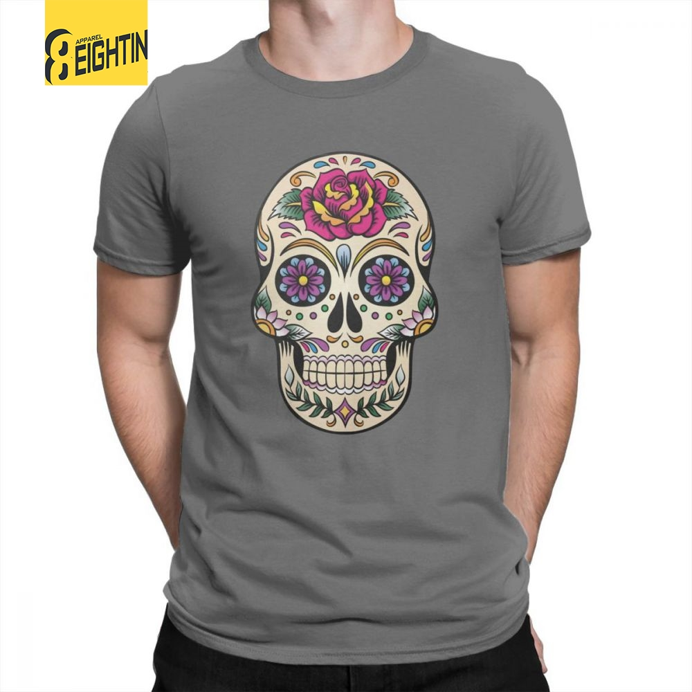 a3b3e3c36 Detail Feedback Questions about Day Of The Dead T Shirt Sugar Skull With  Rose Tile Tees for Men 100% Cotton Travel Original O Neck T Shirt Short  Sleeve Tees ...