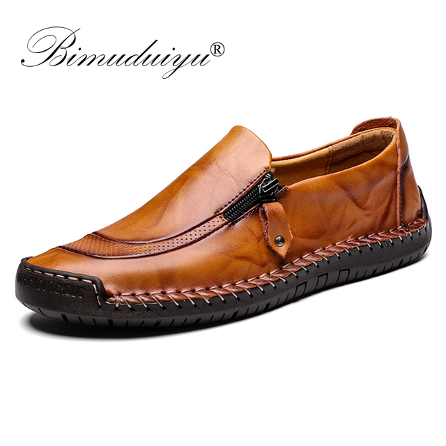 BIMUDUIYU Handgemaakte Lederen Schoenen Mannen Merk Casual Mocassins Mannen Mode Loafers Slip op Rubber Flats Zip opening