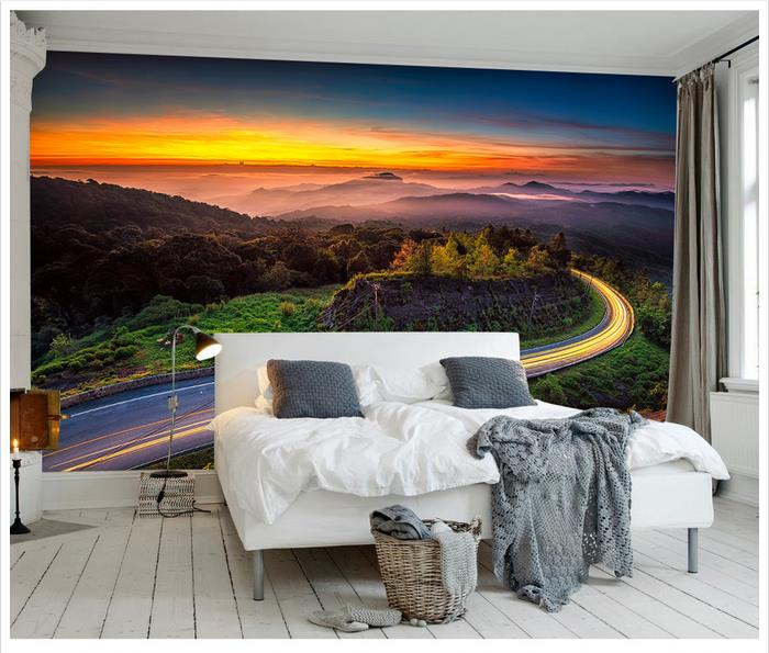 High Quality Sale New Custom 3d Wallpaper Murals Natural Beauty Adornment Beautiful Colorful Cloud Mountain Road Wall Decor In Wallpapers From Home