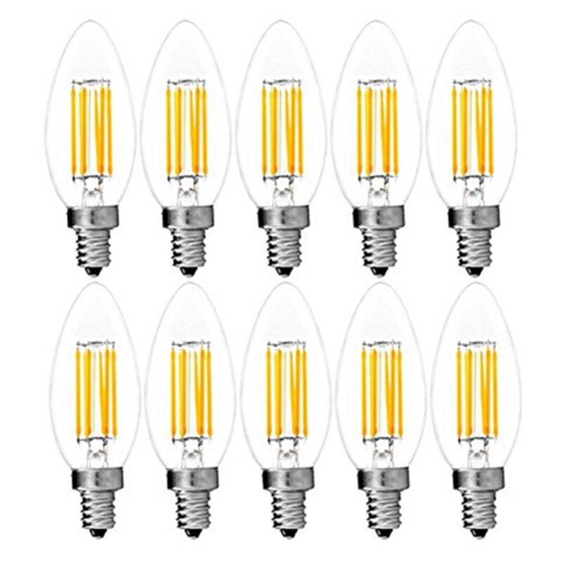 10 шт./лот C35 Светодиодная лампа накаливания 4 Вт 6 Вт диммируемая Светодиодная лампа Эдисона C35L Свеча Лампа теплый холодный цвет ретро антикв...