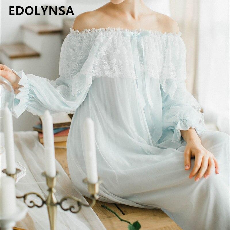 Womens Sleepwear Off The Shoulder Victorian Nightgown Vintage Loose Light Blue Lingerie Flare Sleeve Home Dress Night Wear T33