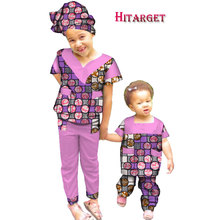 autumn sister 2 pieces African children Clothing dashiki Traditional cotton suits Matching Africa Print Children WYT231