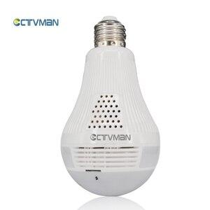 Image 1 - CTVMAN פנורמי הנורה מצלמה 1080P מלא HD 2mp 360 תואר Fisheye Wi fi אלחוטי LED אור מנורת IP P2P E27 כיפת VR אבטחת מצלמת