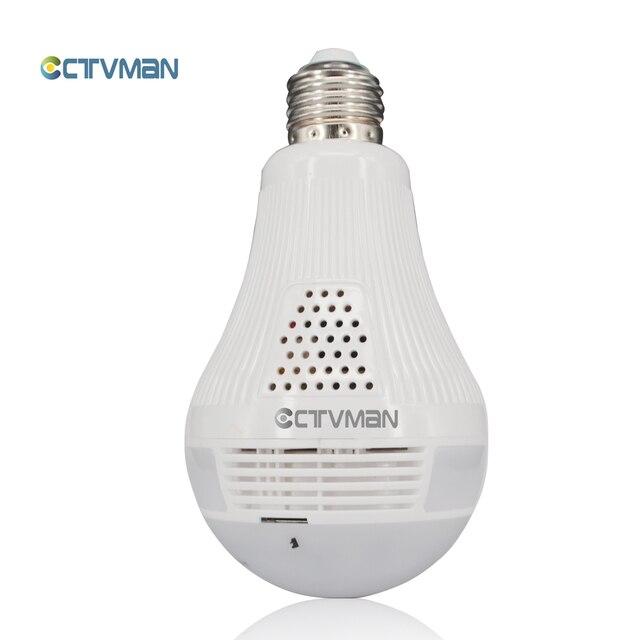 CTVMAN פנורמי הנורה מצלמה 1080P מלא HD 2mp 360 תואר Fisheye Wi fi אלחוטי LED אור מנורת IP P2P E27 כיפת VR אבטחת מצלמת