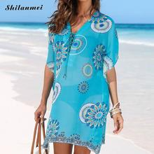Lace Up V-Neck Beach Dress Hollow Beach Swimsuit Chiffon Women'S Tunic Blue Printed Beachwear Printed Summer Dresses For Women tropical style long sleeves round neck printed lace up swimsuit for women