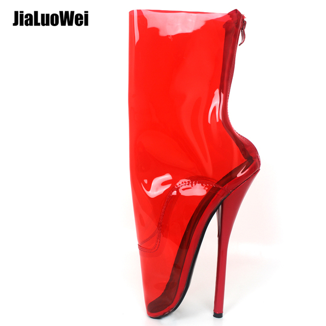 3b974b1addf40 jialuowei Transparent Ballet Boots Clear Women Extreme High Heel Sexy Queen  Fetish Boots Zip PVC Mid
