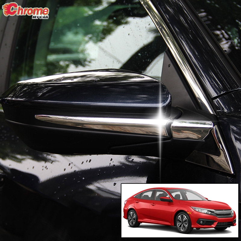 Car Rearview Side Door Mirror Chrome ABS Strip Cover Trim For Honda Civic 2016