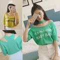 2016 Summer  Fashion Chic Halter Collar Hollow Short Sleeved Women T-shirt Korean Style Loose Casual Letters Prints Tops Female