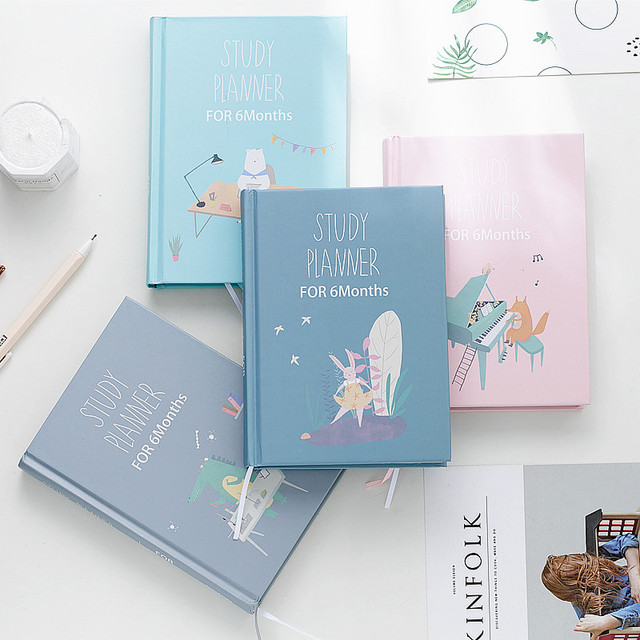 Cute Cartoon Study Planner Notebook with Color page Student 6 Months Plan Diary Wish Goal list Notepad School Stationery Gift