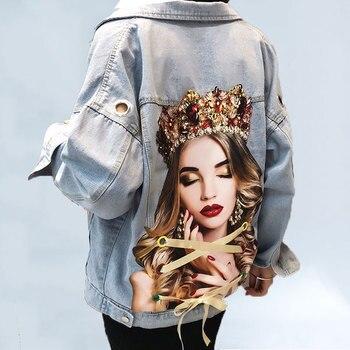 3D Printed Beaded Ribbon Denim Jacket Women 2020 Autumn Streetwear Jeans Fashion Pockets Loose Vintage Outwear 434