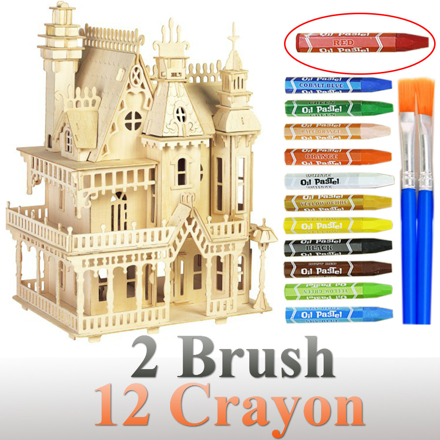 Wood Victorian Dollhouse Toys Fantasy Villa 3D Puzzle DIY Scale Models And Building For Adult Diy Gift Miniature Building