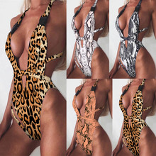 New Snake Print Swimsuit Women Leopard One Piece Bathing Suit Beachwear Sexy Push Up Padded Swimwear
