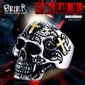Beier nova loja anel de aço inoxidável 316l skull ring biker personalidade dos homens de moda de alta qualidade jóias br8-313