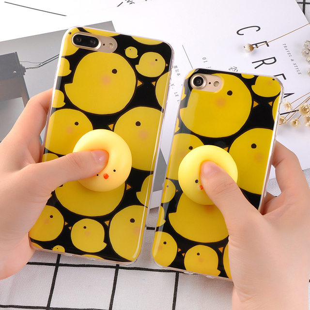 Soft Silicone Squishy Case for iPhone 7 6 6s Plus Cover 3D Cute Funny Pressure Release toy Small