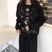 цена Autumn Winter Universe Embroidery Pullover Women Plus Velvet Pullover Tops Female Fashion Black Pullover Women's Sweatshirt онлайн в 2017 году