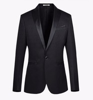 Hot Sale 2016 Black Peaked Lapel One Button Tuxedos High Quality Custume Homme Fashion Terno Masculino