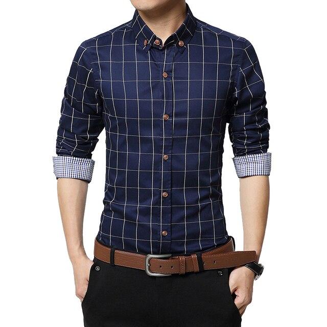 Slim Fit Heren Overhemd.Mooie Heren Shirts Plaid Heren Shirts Slim Fit Katoen 2017 Mens