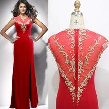 Doragrace robe de soiree High-End Elegant Mermaid Side Split Embroidery Beaded Red Evening Dresses DGE142