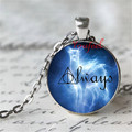 Always Doe Patronus Harry Potter Symbol Always glass photo silver pendant patronus necklace Glass Photo Cabochon Necklace