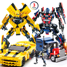 купить 2 In 1 Anime action figure Transformation Robot Car Building Block Bricks Deformation Robot Model Car toys Compatible Legoings дешево