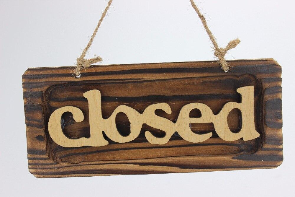 Wooden sign handing board shop store wood closed sign wood door ...
