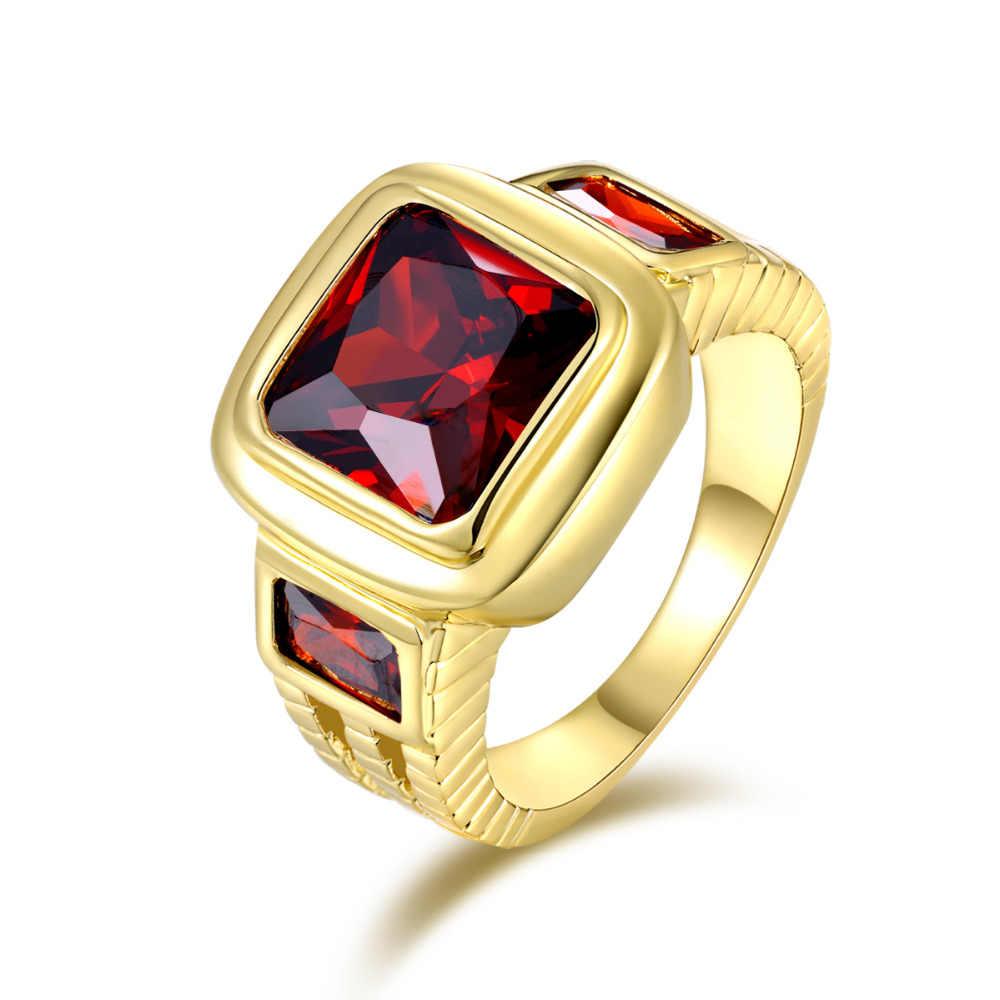 SuoHuan ขนาด 7-13 Charms ชายแหวนผู้ชายสีแดง Zirconia หินคริสตัล Filled Wedding Band Mens แหวนเครื่องประดับของขวัญ