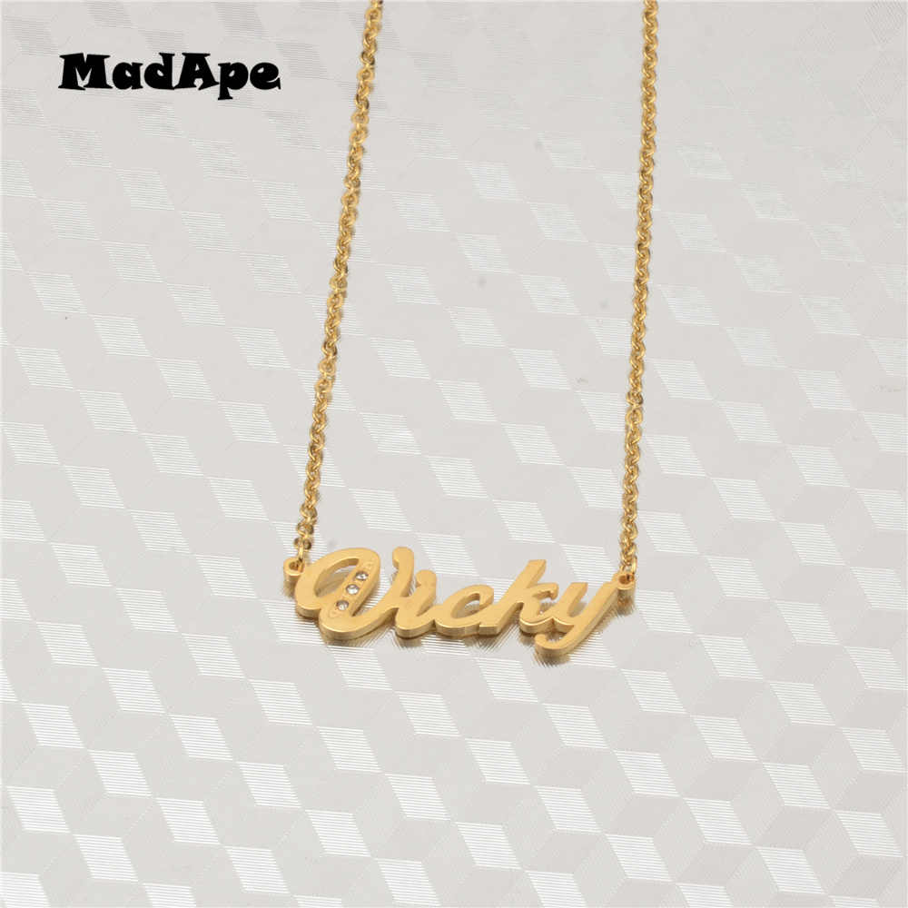 "MadApe Classic Name Necklace Gold Stainless Steel Letter ""Vicky"" Pendant Choker Customized Name Necklace For Women Jewelry Gifts"