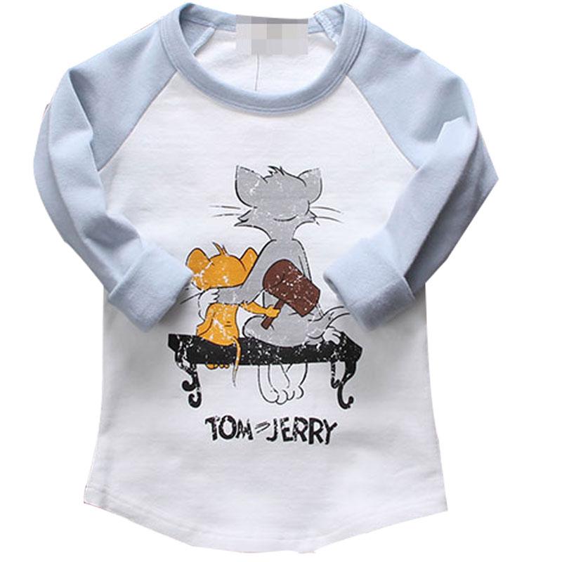 Autumn Casual Children Clothing Cute Boy Girl T-shirt Long Sleeve Cotton Cartoon Cat And Mouse Baby Tops Children Sweatshirts