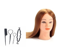 CAMMITEVER Golden Hair with Gifts Hairdressing Makeup Training Dummy Mannequin Head /Practice Model Holder for Haircut