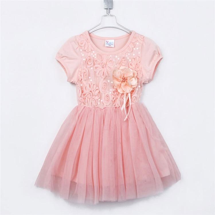 Summer Paillette Flower Girls Short sleeve Clothing Yarn One piece Dress 1487