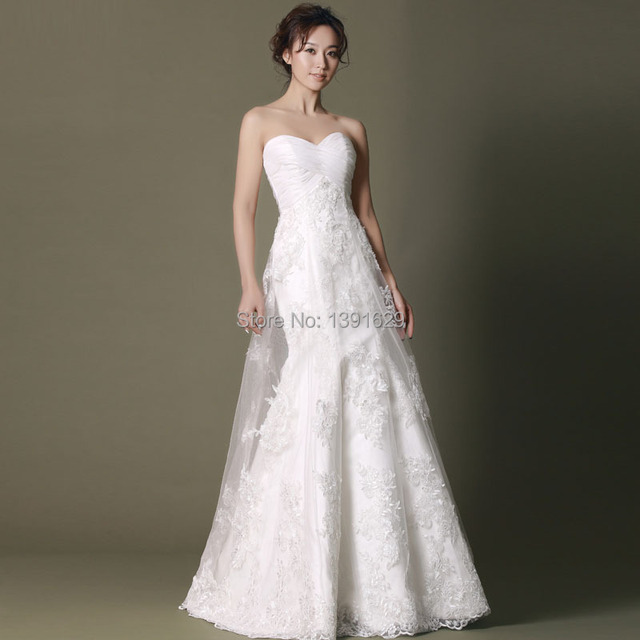 Atlantis Strapless Long Chaple Tail Slim White Wedding Dress With ...
