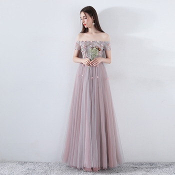 Long Elegant Boat Neck Lace Evening Dress Female 2019 Formal Occasion Dance Party Wedding Party Reflective Dress Evening Gowns