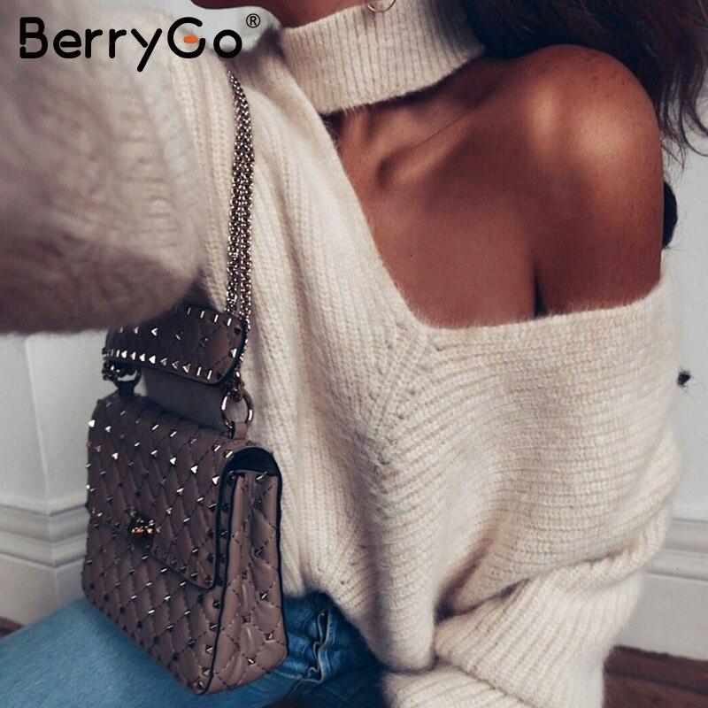 BerryGo/водолазка с одним плечом; вязаный свитер большого размера для женщин; уличная зимняя одежда; пуловер; мягкие теплые белые осенние женские джемперы