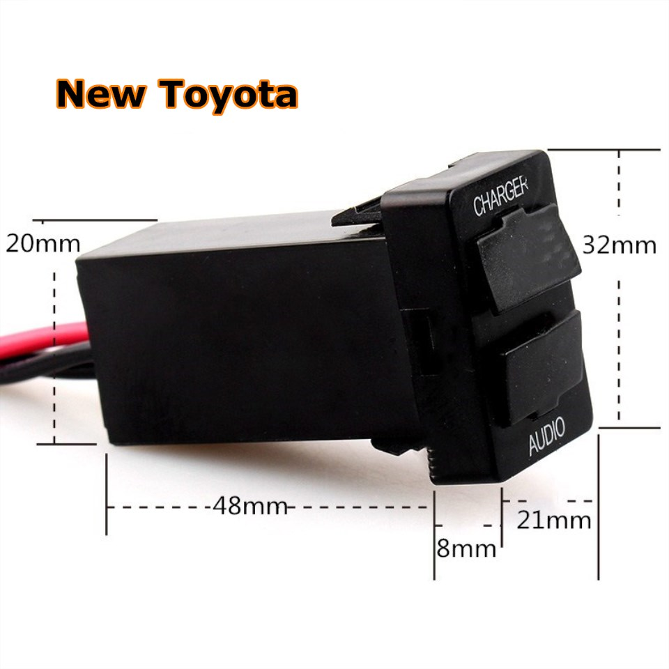 Купить с кэшбэком DC 12V 2.4A Interface car USB Charger with Audio MP3 Socket Battery Voltage Display use for TOYOTA Corolla Auris Camry Reiz RAV4