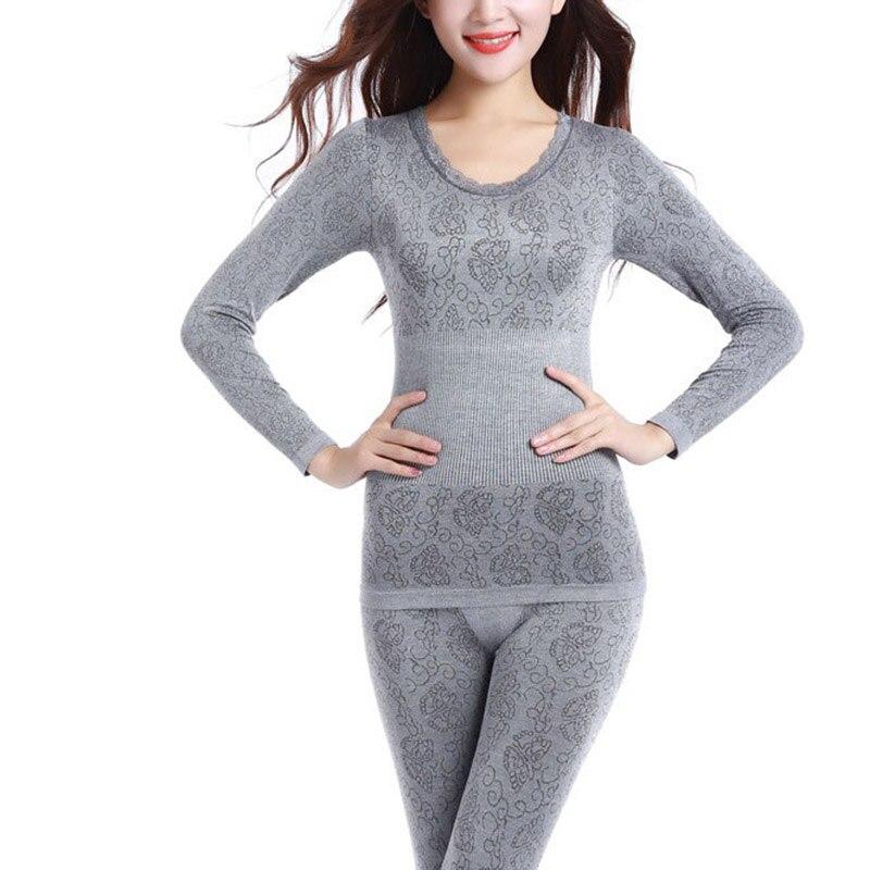 2016 Women Soft Microfiber Fleece Lined Thermal Top Bottom Long John Underwear Sets