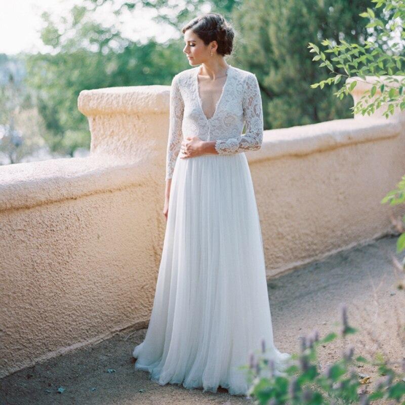 2016 Fabulous Lace Tulle Bride Dresses Vintage Lace Long