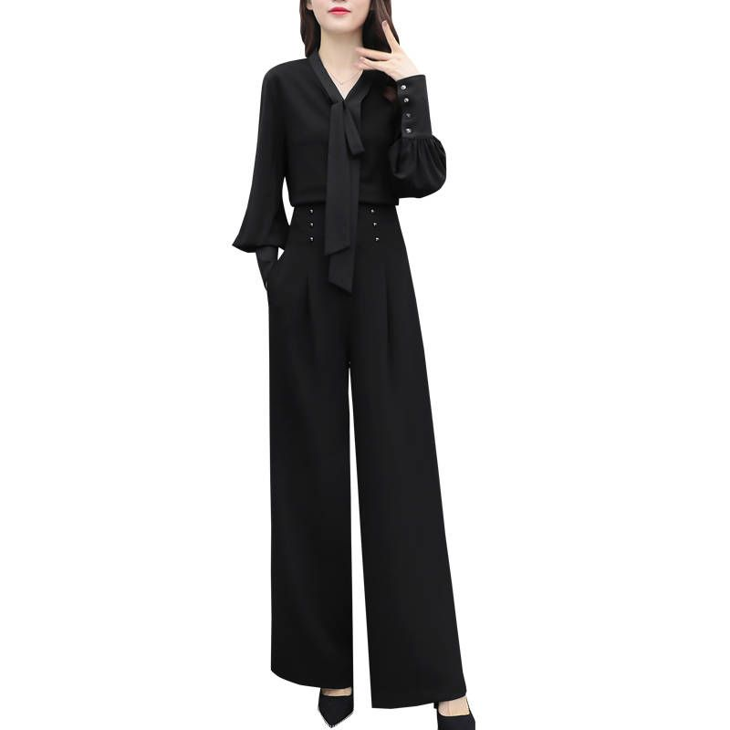 Fashion Spring Casual OL Women Tracksuit Ladies Shirts + High Waist Wide Leg Pants Suits Female Plus Size 3XL Two Piece Set F186