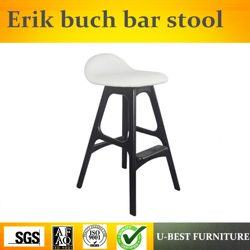 Free Shipping U-BEST Replica Erik Buch Solid Wooden Bar Stool,Nordic Cafe Furniture Antique Stool Modern Ash Wooden Chair