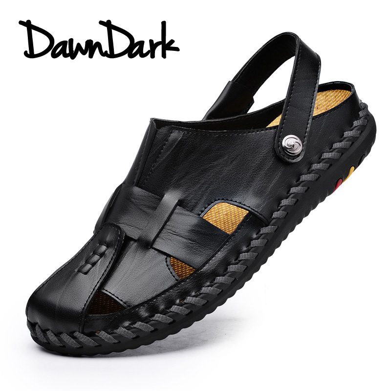 Men Leather Casual Sandals Summer Design Men Fashion Rubber Walking Sneakers Breathable Man Beach Sandals Flat Slippers