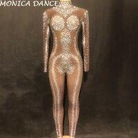 Ночной клуб сценический костюм Чистая Пряжа большой Стекло бриллиантами Для женщин комбинезон с 1000 шт. сверкающими кристаллами ручной рабо