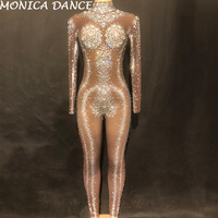 Nightclub Stage Costume Net Yarn Big Glass Diamonds Women Jumpsuit With 1000pcs Sparkling Crystals Hand Made Bodysuit
