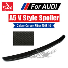 For Audi A5 A5Q Carbon Rear Spoiler Wing Tail V-Style 2-Door Coupe Fiber Trunk 2009-16