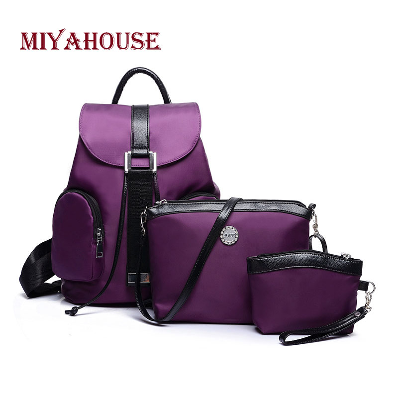 Miyahouse Solid Color Casual Backpack Women 3pcs/set Oxford Material Rucksack For Female Large Capacity Waterproof Backpack